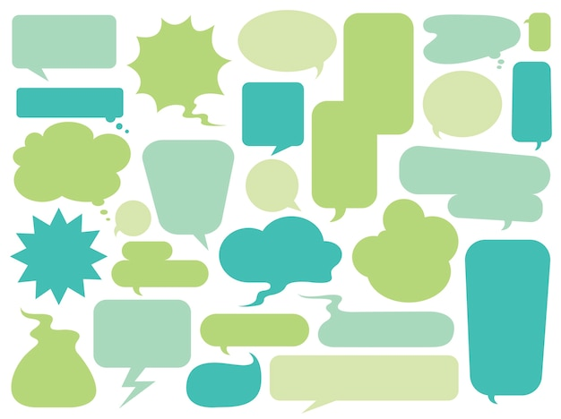 Collection of colorful speech bubbles vector Free Vector