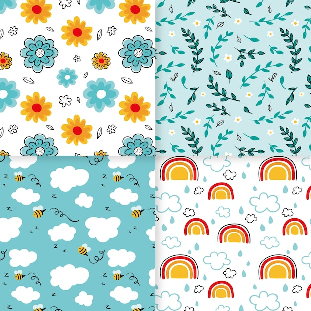 Collection of colorful spring patterns Free Vector