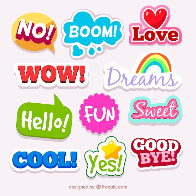 Collection of colorful sticker with words Free Vector