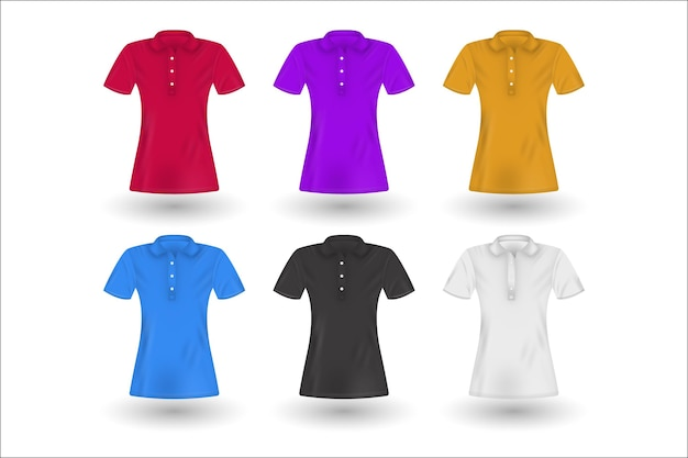 Collection of coloured polo shirts with shadows Free Vector