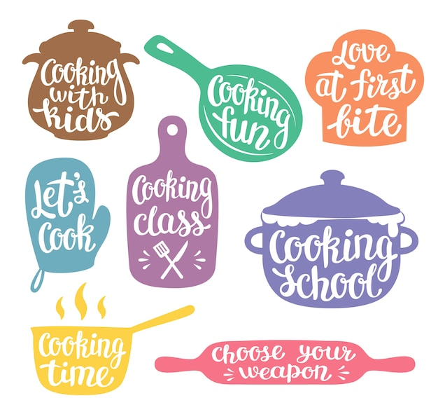 Collection of coloured silhouettes for cooking label Premium Vector