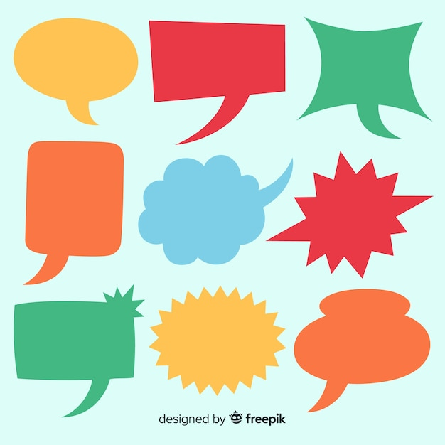 Collection of colourful hand drawn speech bubbles Free Vector