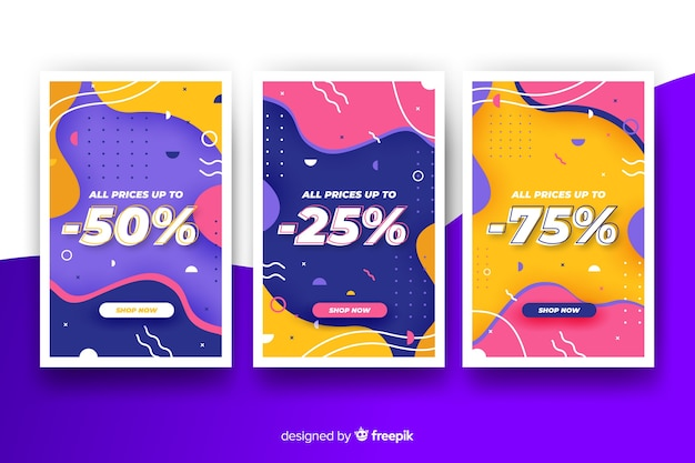 Collection of colourful sale banners in memphis style Free Vector