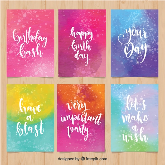 Collection of colourful watercolour birthday cards Free Vector