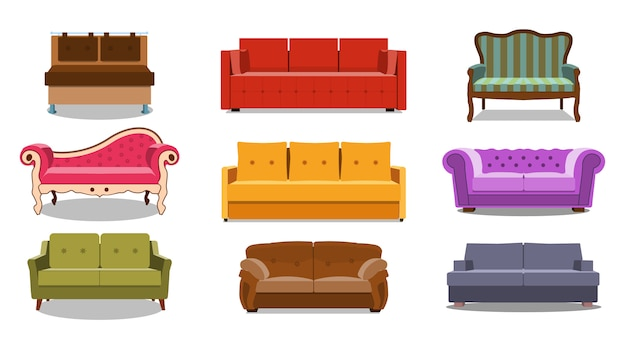 Collection of comfortable lounge for interior Premium Vector