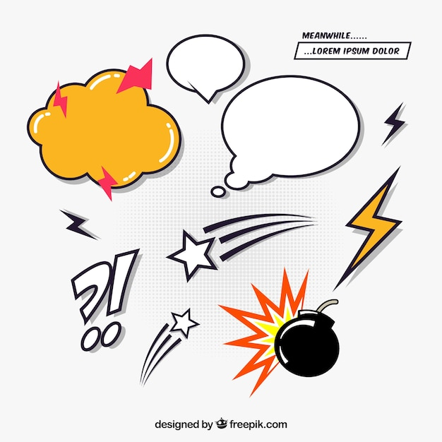 Collection of comic elements effects Free Vector