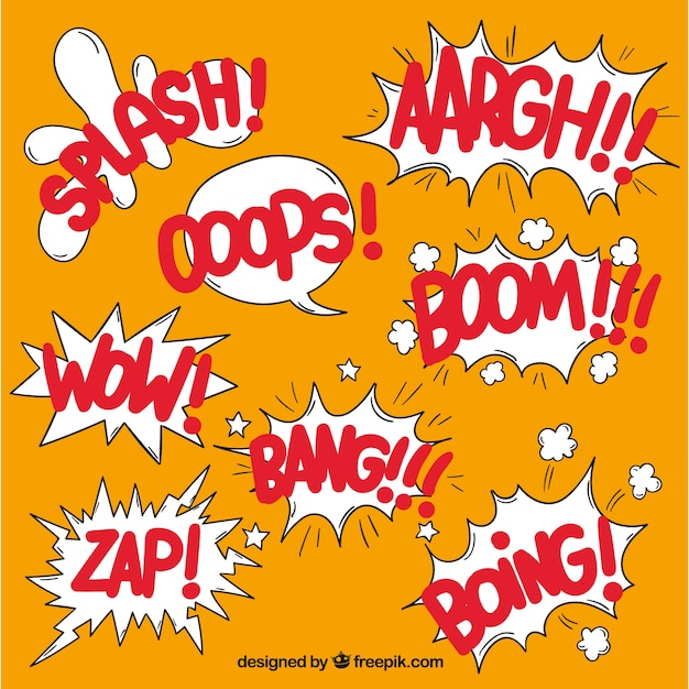 Collection of comic elements with onomatopoeias Free Vector