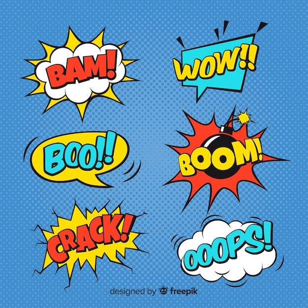Collection of comic sound effects Vector | Free Download