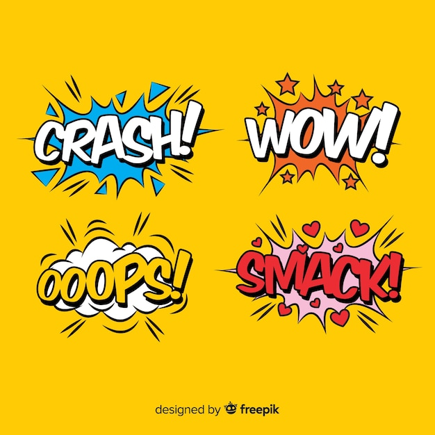 Collection of comic sound effects Free Vector