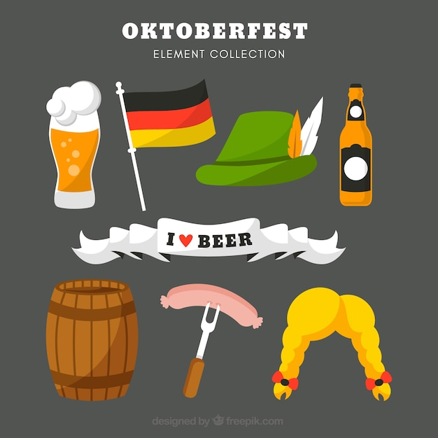 Collection of complements for german party Free Vector