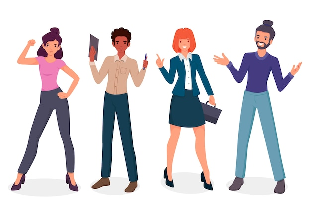 Collection of confident people smiling Free Vector