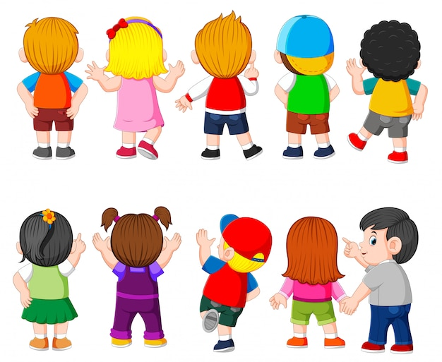 The collection of the costume of the student with the different color Premium Vector