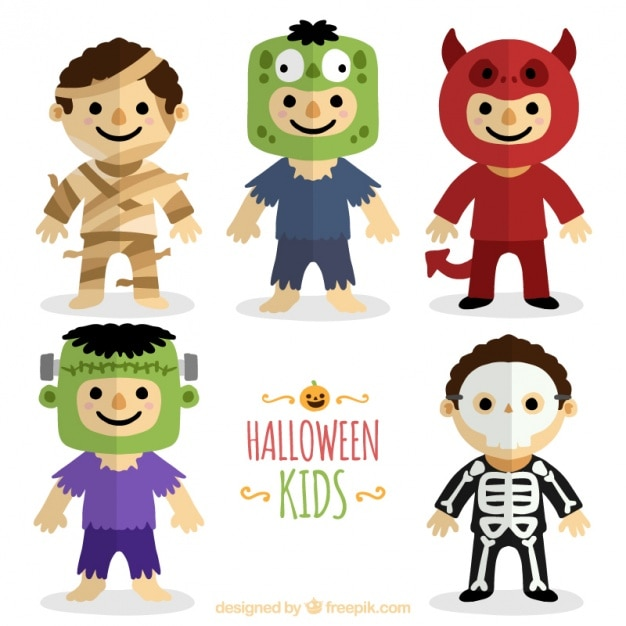 Collection of costumed children Free Vector