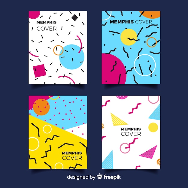 Collection of covers in memphis style Free Vector
