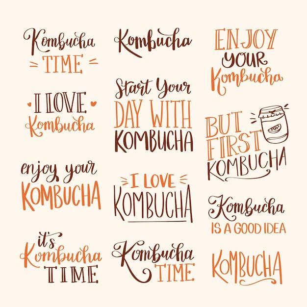 Raccolta di scritte creative di tè kombucha Vettore gratuito