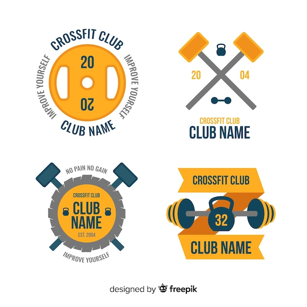 Collection of crossfit logo flat style Free Vector