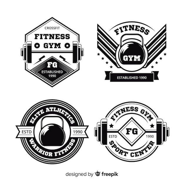 Collection of crossfit motivational logo flat design Free Vector