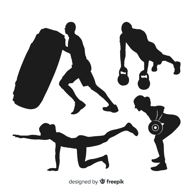 Collection of crossfit training silhouettes Free Vector