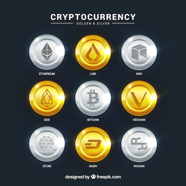 Collection of cryptocurrency coins Free Vector