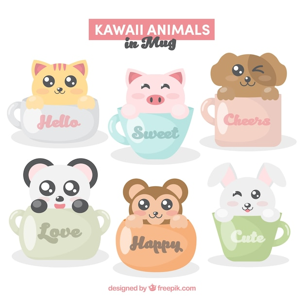 Collection of cup with cute animals Free Vector
