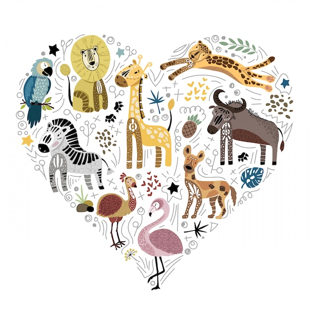Collection of cute african animals Premium Vector