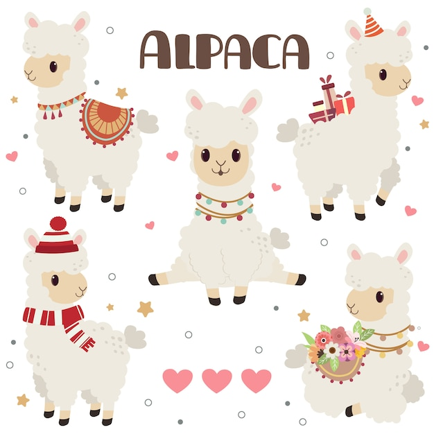 Collection of cute alpaca with hearts Premium Vector