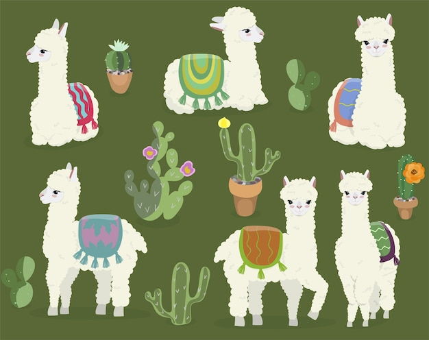 A collection of cute alpacas and cacti. Premium Vector