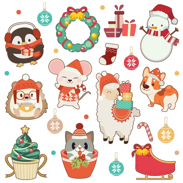 The collection of cute animal in christmas theme set in white .the cute penguin and hedgehog and mouse and alpaca amd corgi dog and cute cat and snowman. the cute animal in flat  style Premium Vector