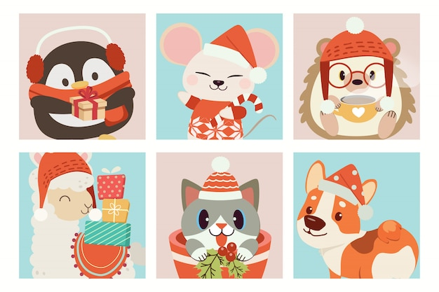 Collection of cute animal in christmas Premium Vector