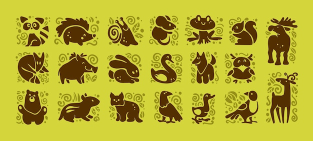 Collection of cute animal icons isolated on white background. Premium Vector