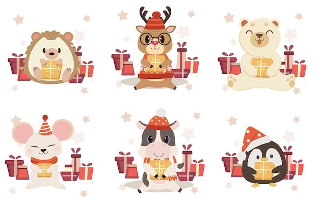 Collection of cute animal with giftbox in flat vector style. Premium Vector