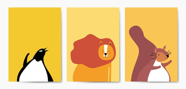 Collection of cute animals in cartoon style vector Free Vector