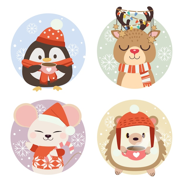 The collection of cute animals in circle with snow and snowflake. Premium Vector