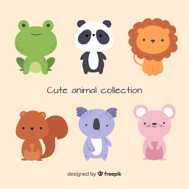 Collection of cute animals in flat design Free Vector