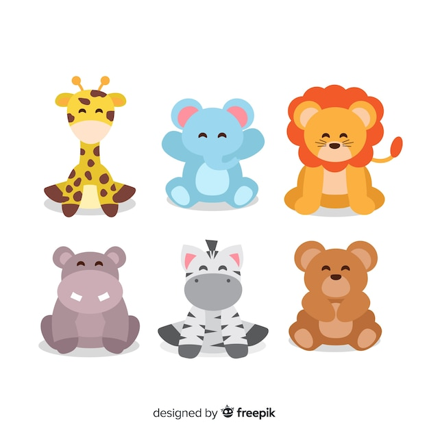 Collection of cute animals illustrations Free Vector