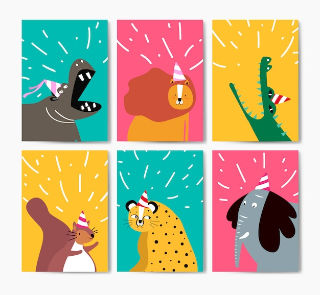 Collection of cute animals in party hats cartoon Free Vector