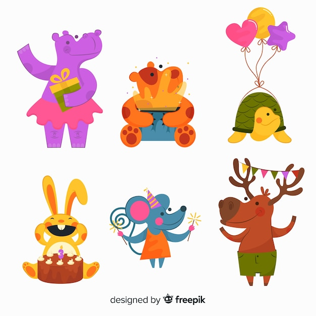 Collection of cute animals ready for birthday party Free Vector