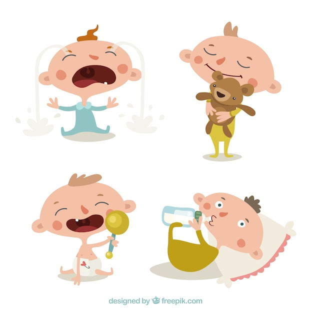 Collection of cute babies in different actions Free Vector