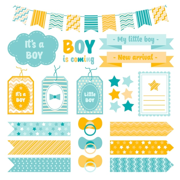 Raccolta di elementi di scrapbook baby shower carino Vettore gratuito