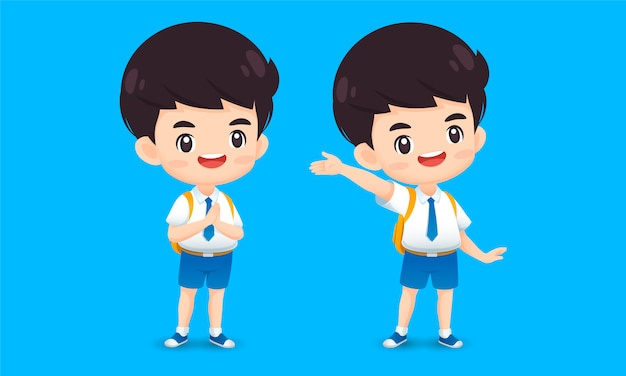 Collection of cute boy character in greeting pose Premium Vector