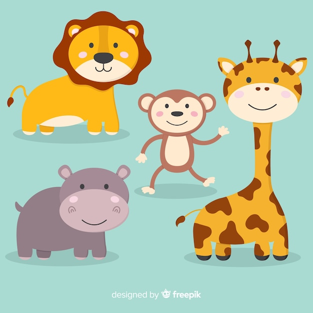 Collection of cute cartoon animals Free Vector