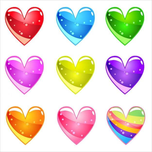 Collection cute cartoon glossy hearts with jelly in different colors. Premium Vector