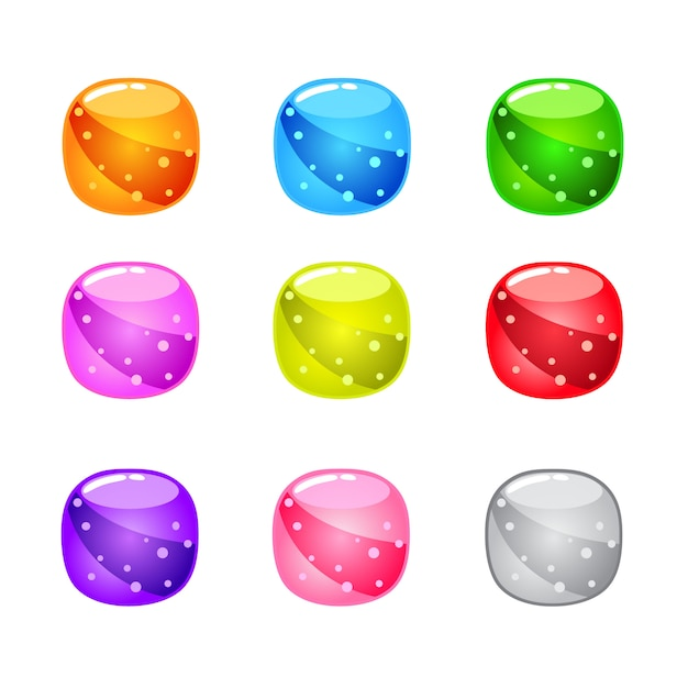 Collection cute cartoon glossy round with jelly in different colors. Premium Vector
