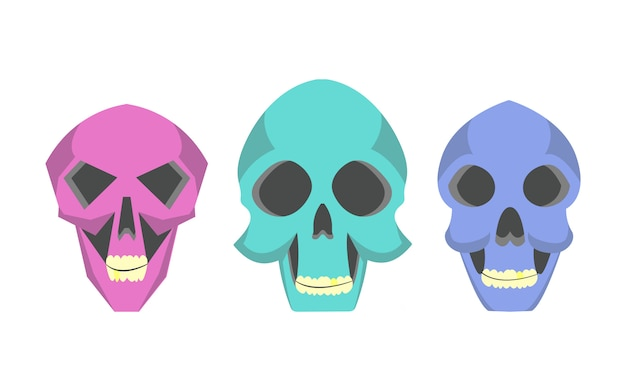 Collection cute cartoon skulls in various styles. Premium Vector