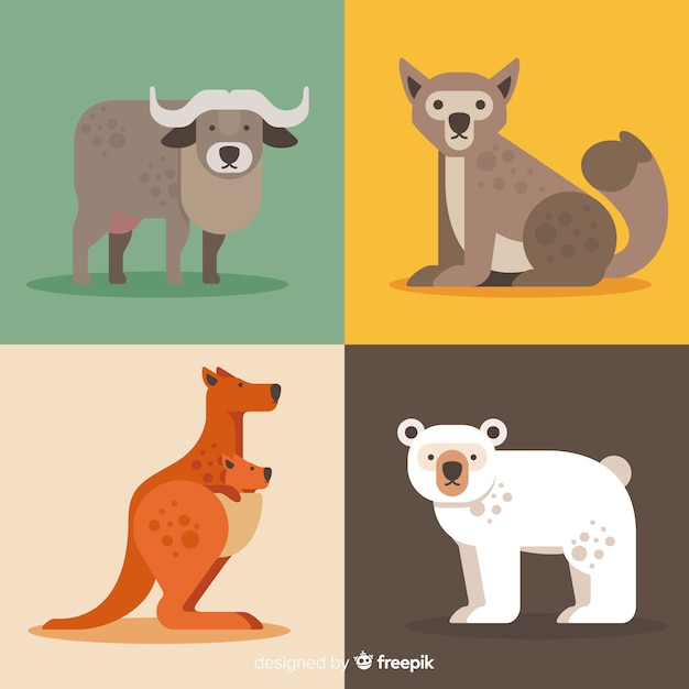 Collection of cute cartoon wild animals Free Vector