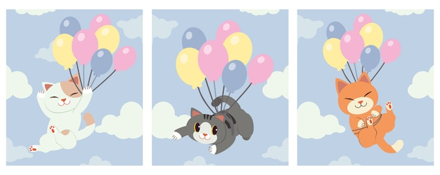 The collection of cute cat holding a rainbow balloon on the sky with a cloud. Premium Vector
