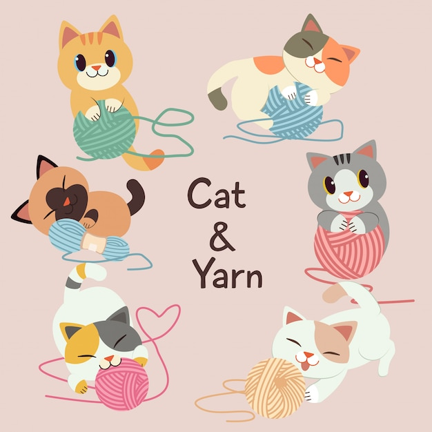 The collection of cute cat play with a yarn on the pink background. Premium Vector