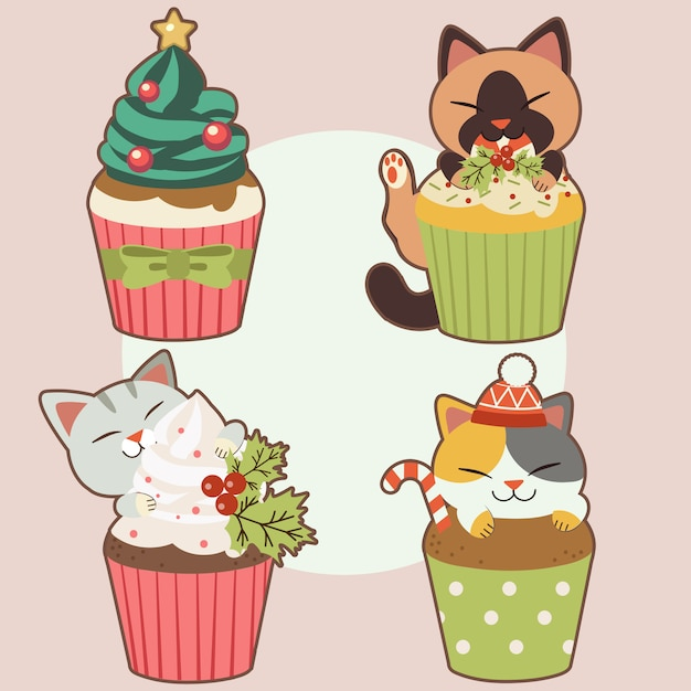 The collection of cute cat with cupcake in christmas theme. the character of cute cat with cupcake in christmas theme.the cupcake have cream look like christmas tree and star and holly leaf and candy. Premium Vector