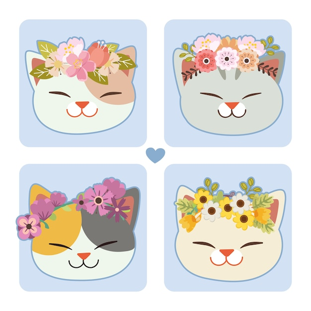 Premium Vector The Collection Of Cute Cat With A Flower Crown Cute cartoon cat princess and rainbow. https www freepik com profile preagreement getstarted 6934075