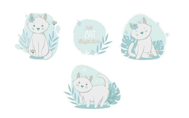 Collection of cute cats cartoon animals. vector illustration. Free Vector